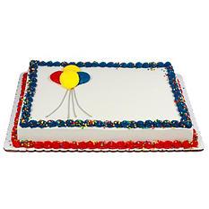 Member's Mark Marble Half Sheet Balloon Cake with Regular Icing
