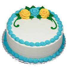 """Member's Mark 10"""" White Rose Cake with Whipped Icing"""