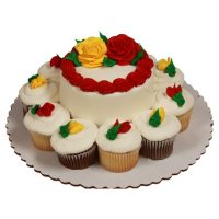 """Member's Mark 5"""" Rose Cake with 10 Cupcakes"""