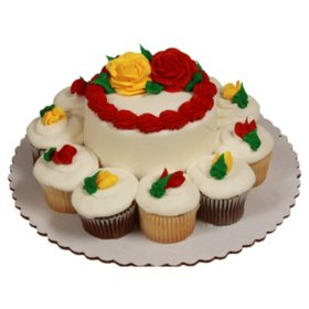 """Member's Mark White 5"""" Rose Cake with 10 Cupcakes"""