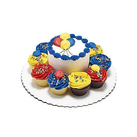 "Member's Mark 5"" Balloon Cake with 10 Cupcakes"