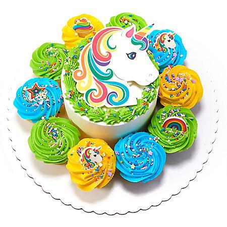 "Member's Mark 5"" Unicorn Cake with 10 Cupcakes"