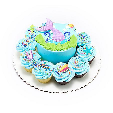 "Member's Mark 5"" Mermaid Cake with 10 Cupcakes"