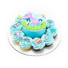 "Member's Mark Chocolate 5"" Mermaid Cake with 10 Cupcakes"