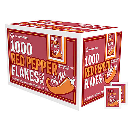 Member's Mark Red Pepper Flakes Single-Serve Packets, Bulk Wholesale Case (1,000 ct.)