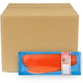Member's Mark Farm Raised Atlantic Salmon Fillet, Skinless, Bulk Wholesale Case (priced per pound)