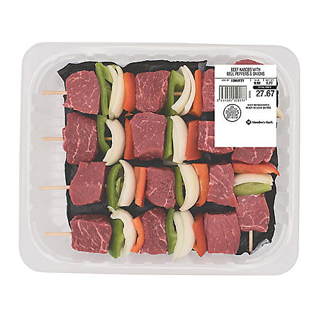 Member's Mark Choice Beef Kabobs with Bell Peppers and Onions (priced per pound)