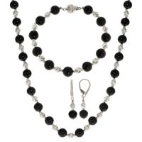 Black Onyx and Sterling Silver Bead Necklace, Earring, and Bracelet Set