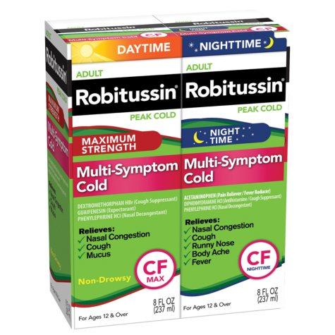 Robitussin Peak Cold Daytime + Nighttime Multi-Symptom Cold CF - 8 oz. - 2 pk.