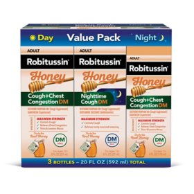 Robitussin Honey Adult Cough + Chest Congestion DM Maximum Strength Liquid (4 fl. oz., 3 pk.)