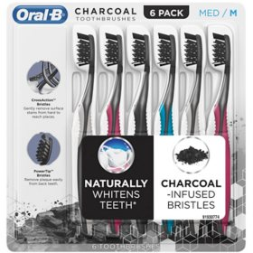 Oral-B Charcoal  Whitening Therapy Toothbrush, Choose Soft or Medium (6 ct.)