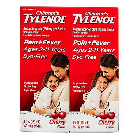 Children's Tylenol Pain + Fever Relief Medicine, Cherry (4oz, 2 pk.)