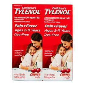 Children's Tylenol Pain + Fever Relief Medicine, Cherry (4oz, 2 pk.)