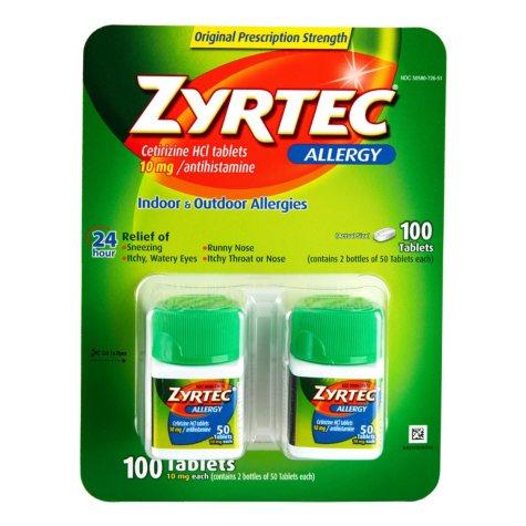 Zyrtec Cetirizine HCl/Antihistamine 10mg (100 ct.)