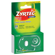 Zyrtec 24 Hour Allergy Relief Tablets (3 ct.)