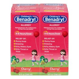Children's Benadryl Antihistamine Allergy Liquid, Cherry (8 fl. oz., 2 pk.)
