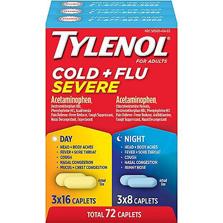 Tylenol Cold + Flu Severe Day & Night Caplets (48 ct. day, 24 ct. night)