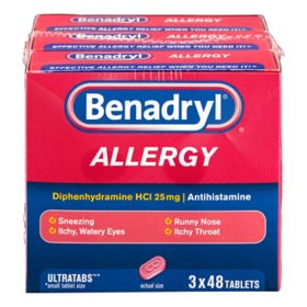 Benadryl Allergy Ultratabs Tablets (48 ct., 3 pk.)