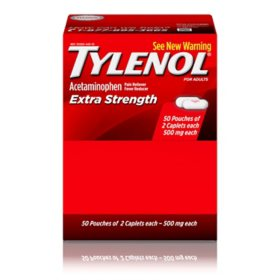 Tylenol Extra Strength Caplets, 500 Mg (50 ct., 2  pk.)