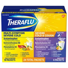 Theraflu MultiSymptom Severe Cold Relief Medicine/Nighttime Severe Cold & Cough Relief Medicine Powder (24 pk.)