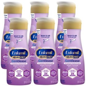 Enfamil NeuroPro Gentlease Infant Formula Milk-Based with Iron, Ready to Use (32 fl. oz., 6 pk.)