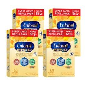 Enfamil NeuroPro Infant Formula Milk-Based Powder with Iron, Powder Refill (31.4 oz., 4 pk.)