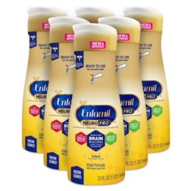 Enfamil NeuroPro Infant Formula Milk-based with Iron, Ready to Use (32 fl. oz., 6 pk.)