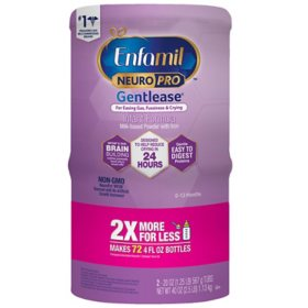 Enfamil NeuroPro Gentlease Infant Formula Non-GMO Milk-Based Powder with Iron (20 oz., 2 pk.)