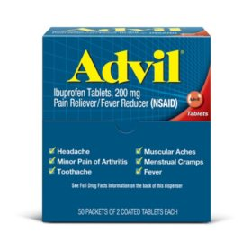 Advil Pain Reliever / Fever Reducer Coated Tablet, Individually Sealed, 200mg Ibuprofen (50 Packets of 2 Tablets Each)