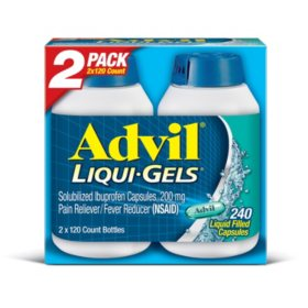 Advil Liqui-Gels Pain Reliever/Fever Reducer Liquid-Filled Capsule, 200mg Ibuprofen (120 ct., 2 pk.)