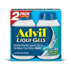 Advil Liqui-Gels Pain Reliever/Fever Reducer Liquid-Filled Capsule, 200mg Ibuprofen (120 ct., 2 pk.)