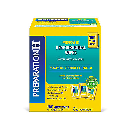 Preparation H Flushable Medicated Hemorrhoidal Wipes, Maximum Strength Relief With Witch Hazel And Aloe (180 ct.)