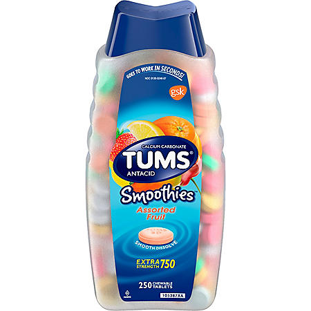 TUMS Smoothies Assorted Fruit Antacid Chewable Tablets for Heartburn Relief, (250 ct.)