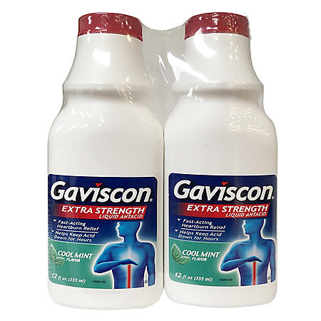 Gaviscon Extra Strength Liquid Antacid, Cool Mint Flavor (12 oz., 2 pk.)