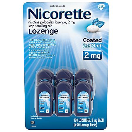 Nicorette Coated Nicotine Lozenge to Stop Smoking, 2 mg, Ice Mint (120 ct.)