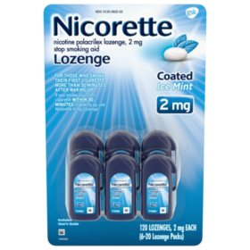 Nicorette Coated Nicotine Lozenge to Stop Smoking, 2 mg, Ice Mint (120 ct.)