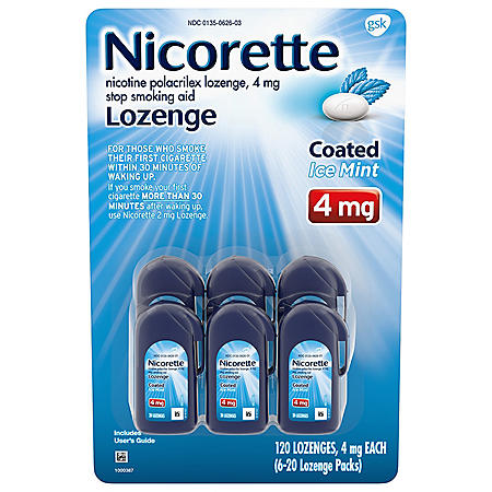 Nicorette Coated Nicotine Lozenge to Stop Smoking, 4 mg, Ice Mint (120 ct.)