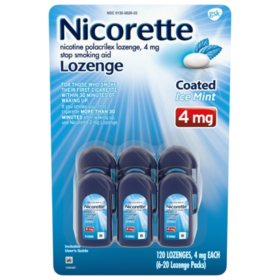 Nicorette Coated Nicotine Lozenge to Stop Smoking, 4 mg, Ice Mint (120 ct.)