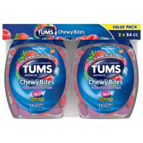 TUMS Chewy Bites Chewable Antacid Tablets for Heartburn Relief, Assorted Berries (54 ct., ea. 2 pk.)