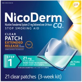 NicoDerm CQ Patch Step 1 - 21mg (21 Clear Patches)