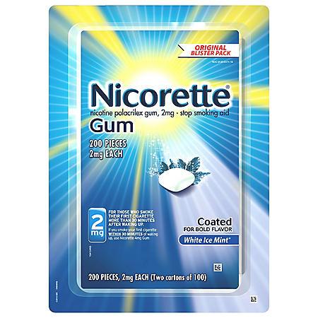 Nicorette 2mg Gum, White Ice Mint (100 ct., 2 pk.)