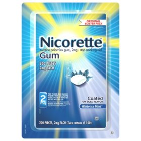 Nicorette 2mg Gum, White Ice Mint (100 ct., 2 pk.)