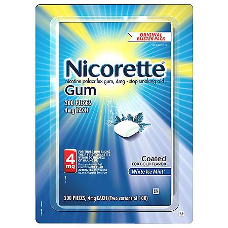 Nicorette 4mg Gum, White Ice Mint (100 ct., 2 pk.)
