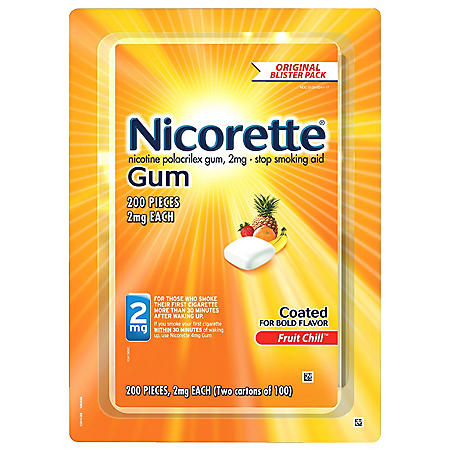 Nicorette 2mg Gum, Fruit Chill (100 ct., 2 pk.)