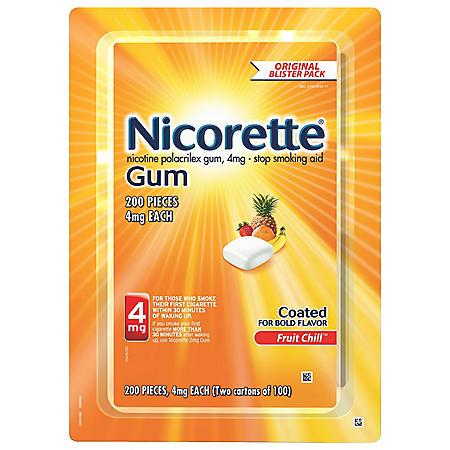 Nicorette 4 mg Gum - Fruit Chill  (100 ct., 2 pk.)