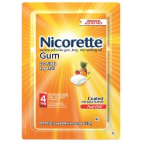 Nicorette 4mg Gum, Fruit Chill (100 ct., 2 pk.)