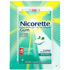 Nicorette Nicotine Gum Spearmint Flavor Coated 4mg Stop Smoking Aid (200 ct.)