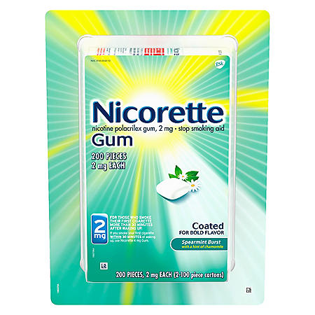 Nicorette Nicotine Gum Spearmint Flavor Coated 2mg Stop Smoking Aid (200  ct )