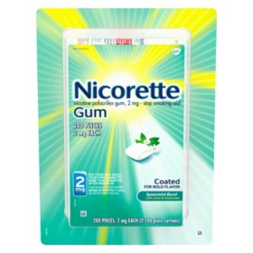 Nicorette Nicotine Gum Spearmint Flavor Coated 2mg Stop Smoking Aid (200 ct.)