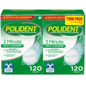 Polident 3-Minute Triple-Mint Antibacterial Denture Cleanser, Effervescent Tablets (240 ct.)